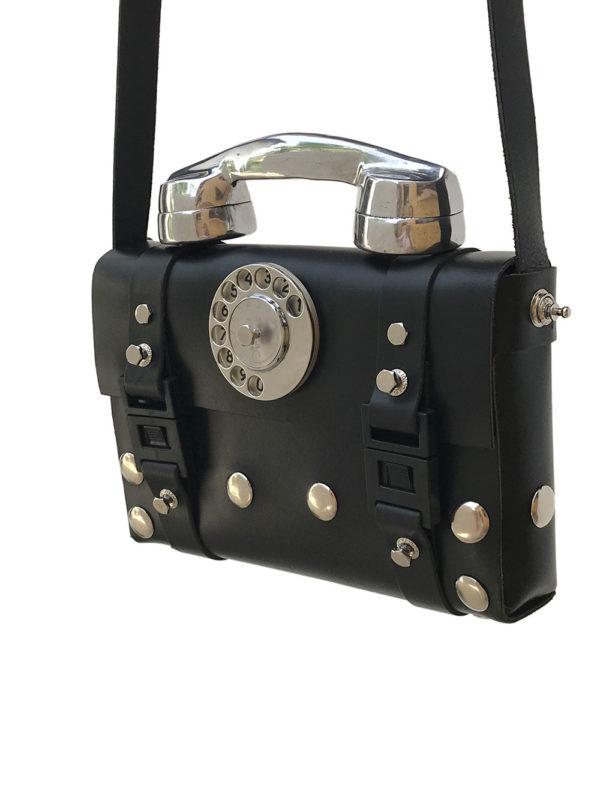 black leather shoulder bag aluminium retro telephone handle limited edition