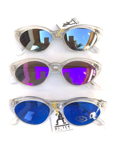 Cats eye clear sunglasses vintage retro punk NOS 80's 90's stock mirror lens