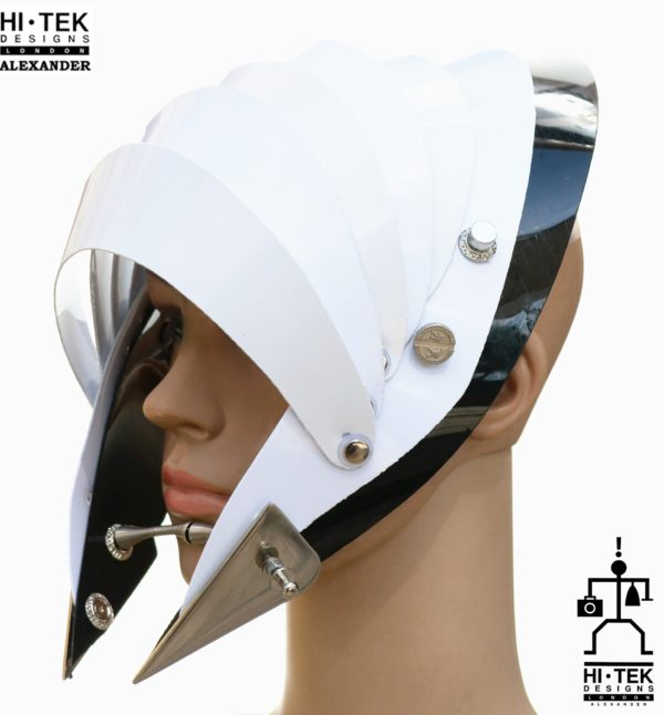 Unusual Head Wear futuristic, mask hat headpiece helmet modern Steampunk wearable art white black trim