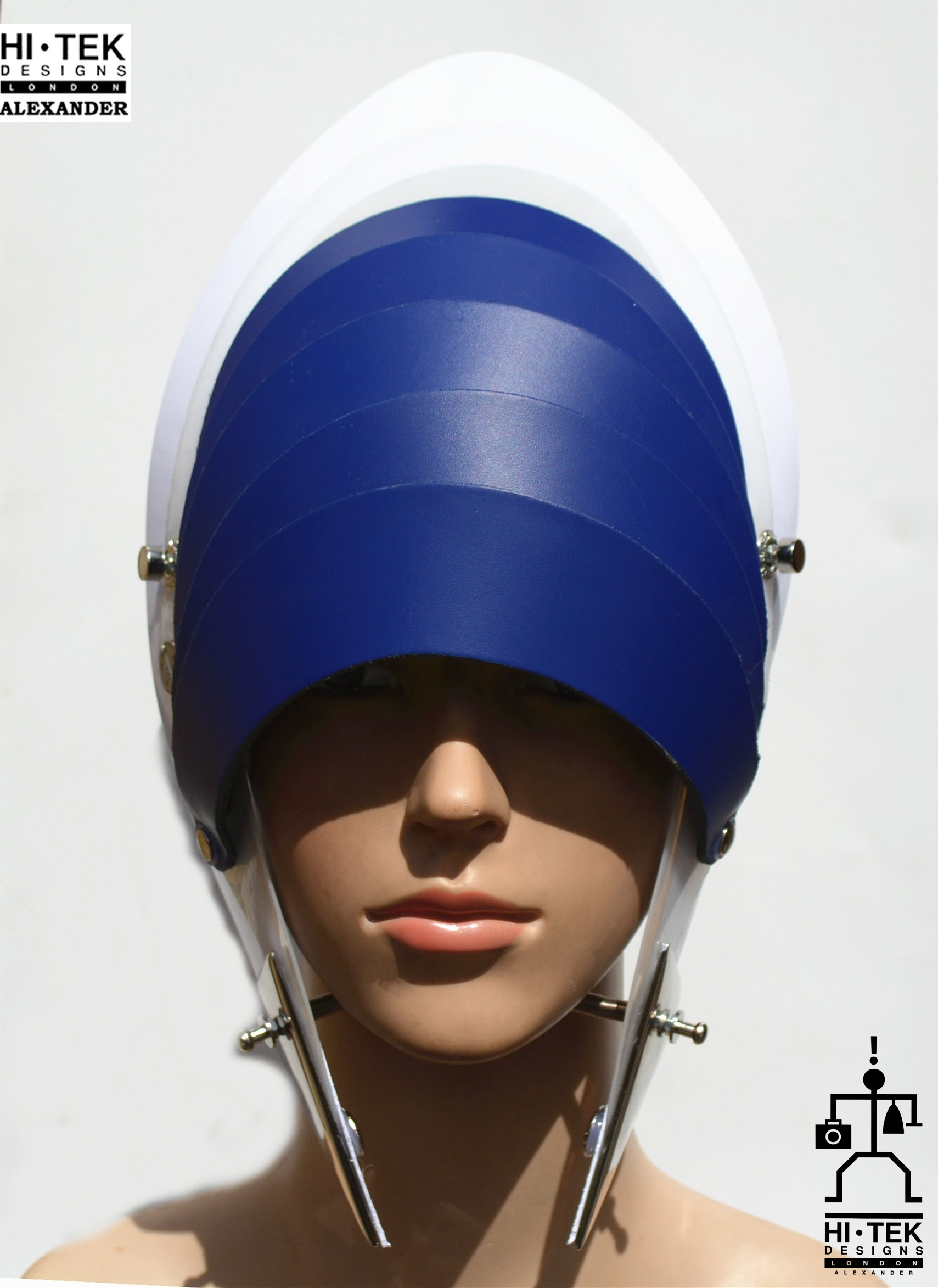 futuristic head wear in entertainment article, wearable art, cobalt blue leather white
