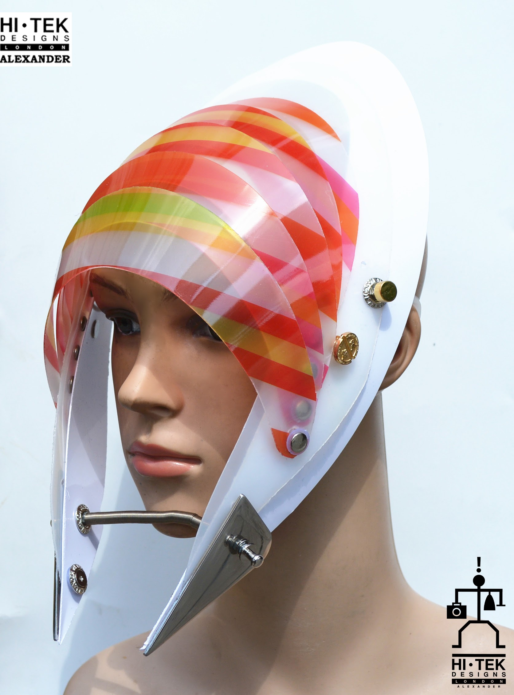 futuristic head wear in entertainment article, wearable art, cobalt multi colour stripe