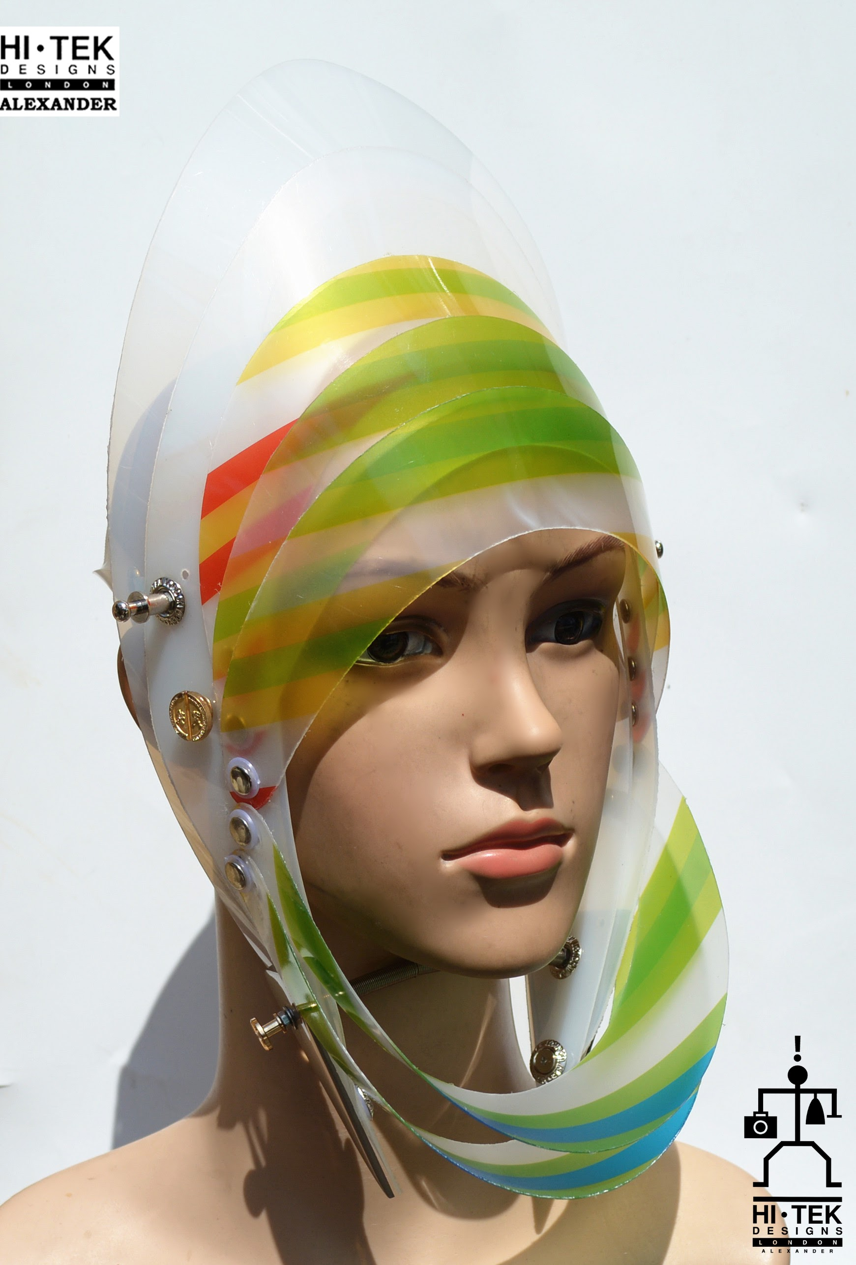 futuristic head wear in entertainment article, wearable art, cobalt multi colour stripe