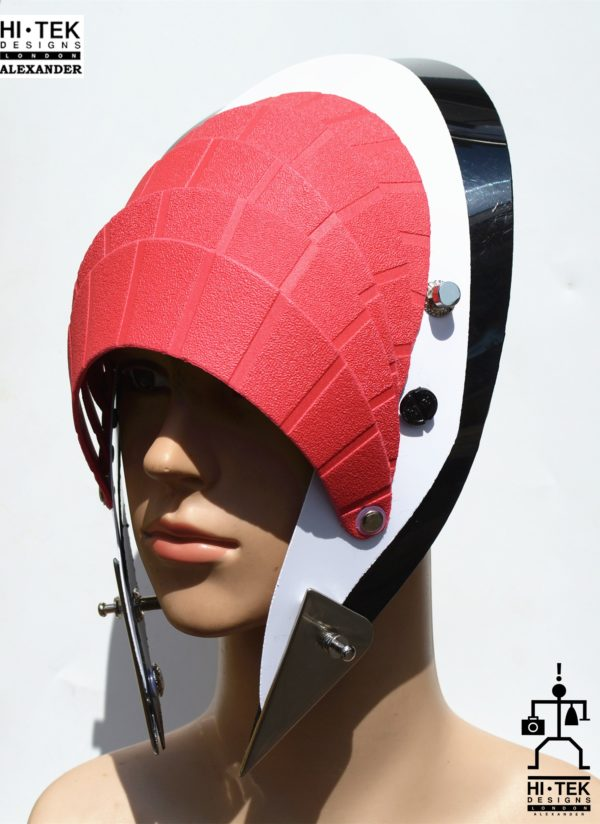Unusual Head Wear futuristic, mask hat headpiece helmet modern Steampunk wearable art red black