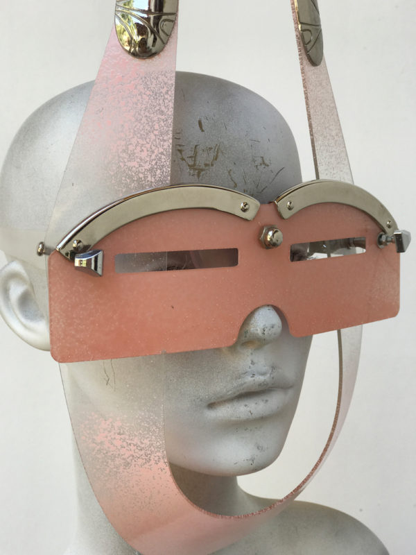 mask with horns and metal components, styling video, Burning Man