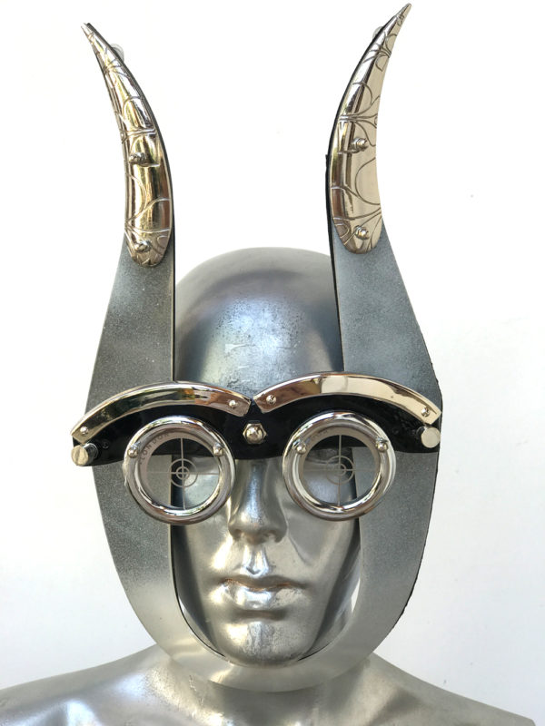 mask with devil horns and perforated metal ocular lens styling video Burning ManHi Tek