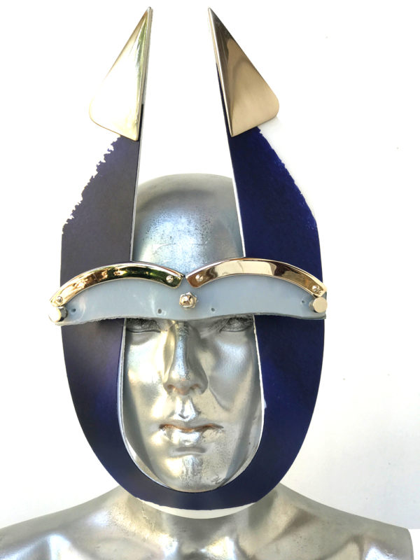 blue and white stripe mask with triangular horns metal components, styling video, Burning Man