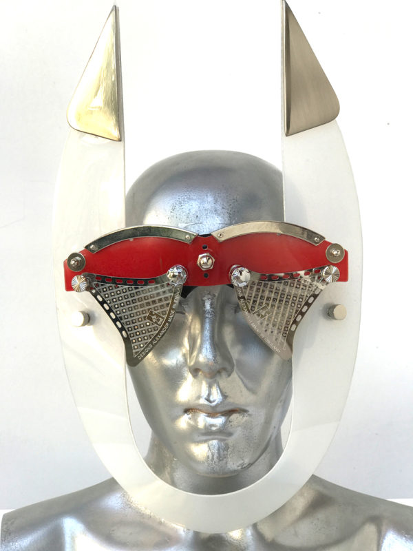red white mask with horns perforated metal ocular lens metal components, styling video, Burning Man