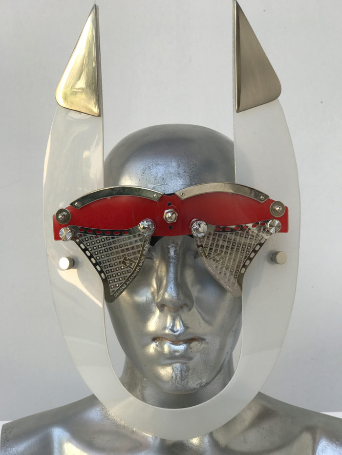 red eyewear with horns