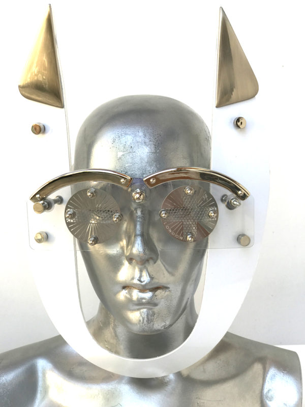 white mask with horns perforated metal ocular lens metal components, styling video, Burning Man