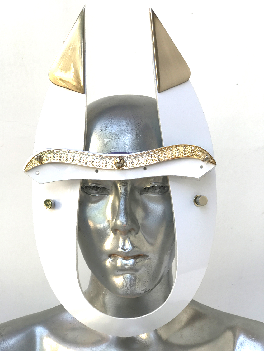 White Eye Wear Mask With Horns And Metal Components