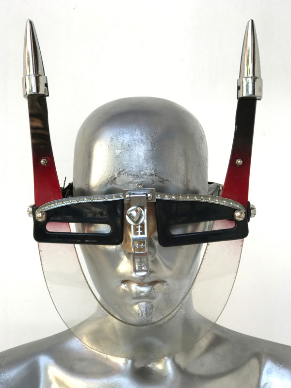 red black eye wear mask with horns and nose shield, styling Burning Man wearable art Hi Tek