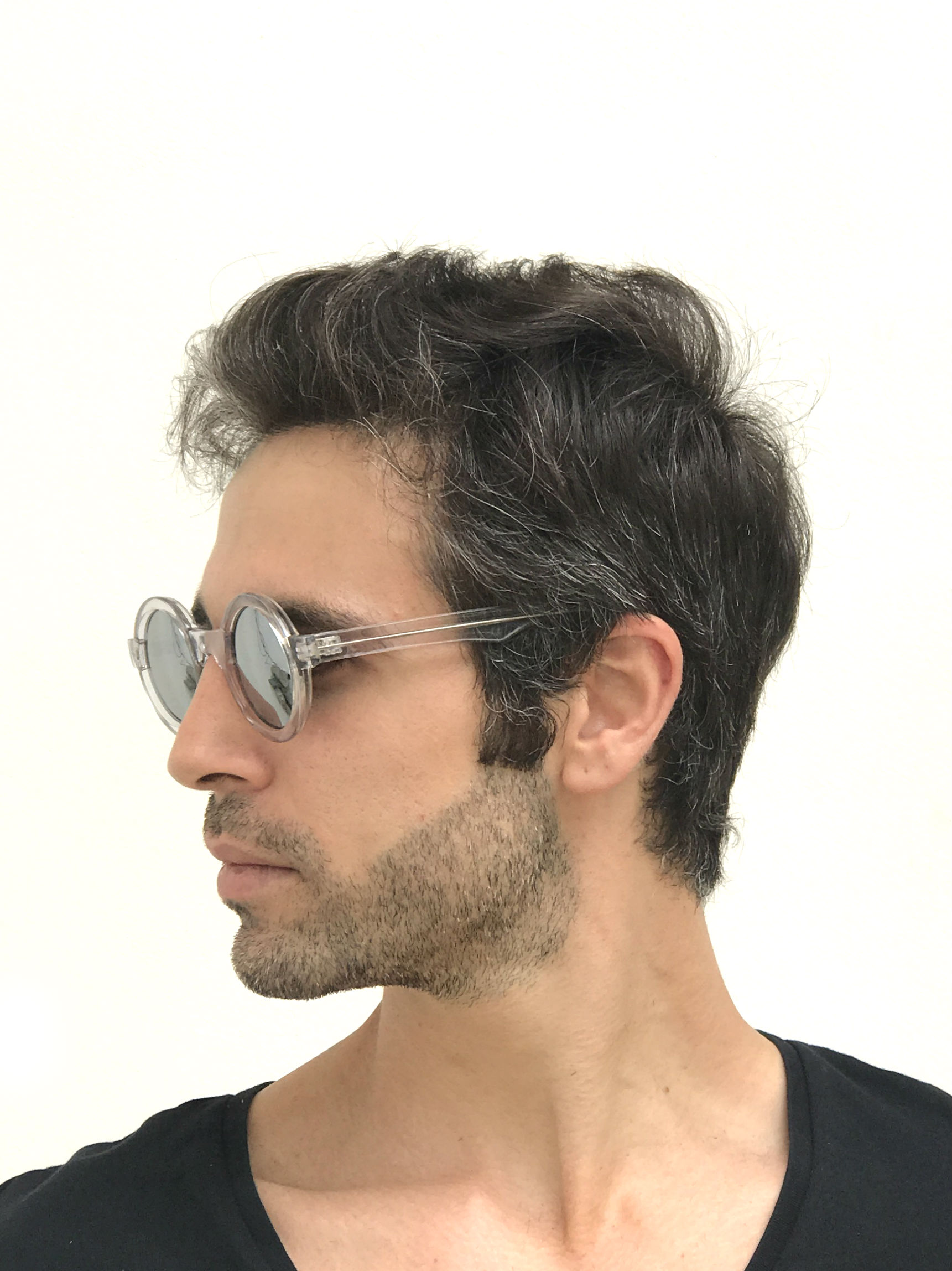 round clear sunglasses mirror lens Cybergoth HT-005