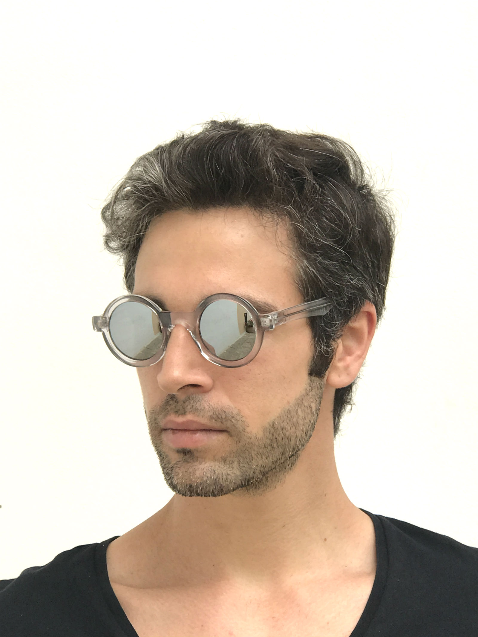 round clear sunglasses mirror lens