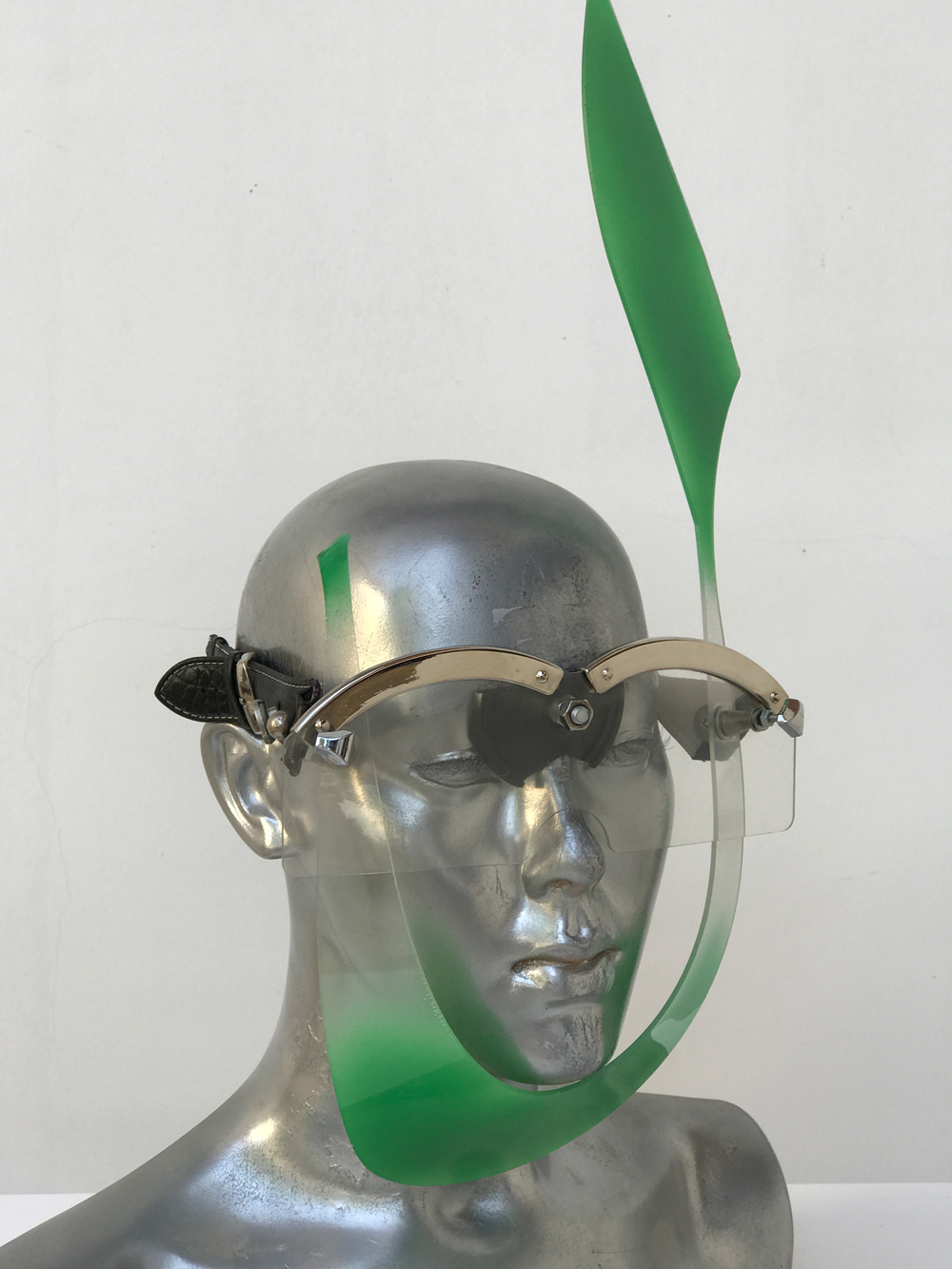 green mask with rabbit ear, wearable art, unusual eye wear, styling video,