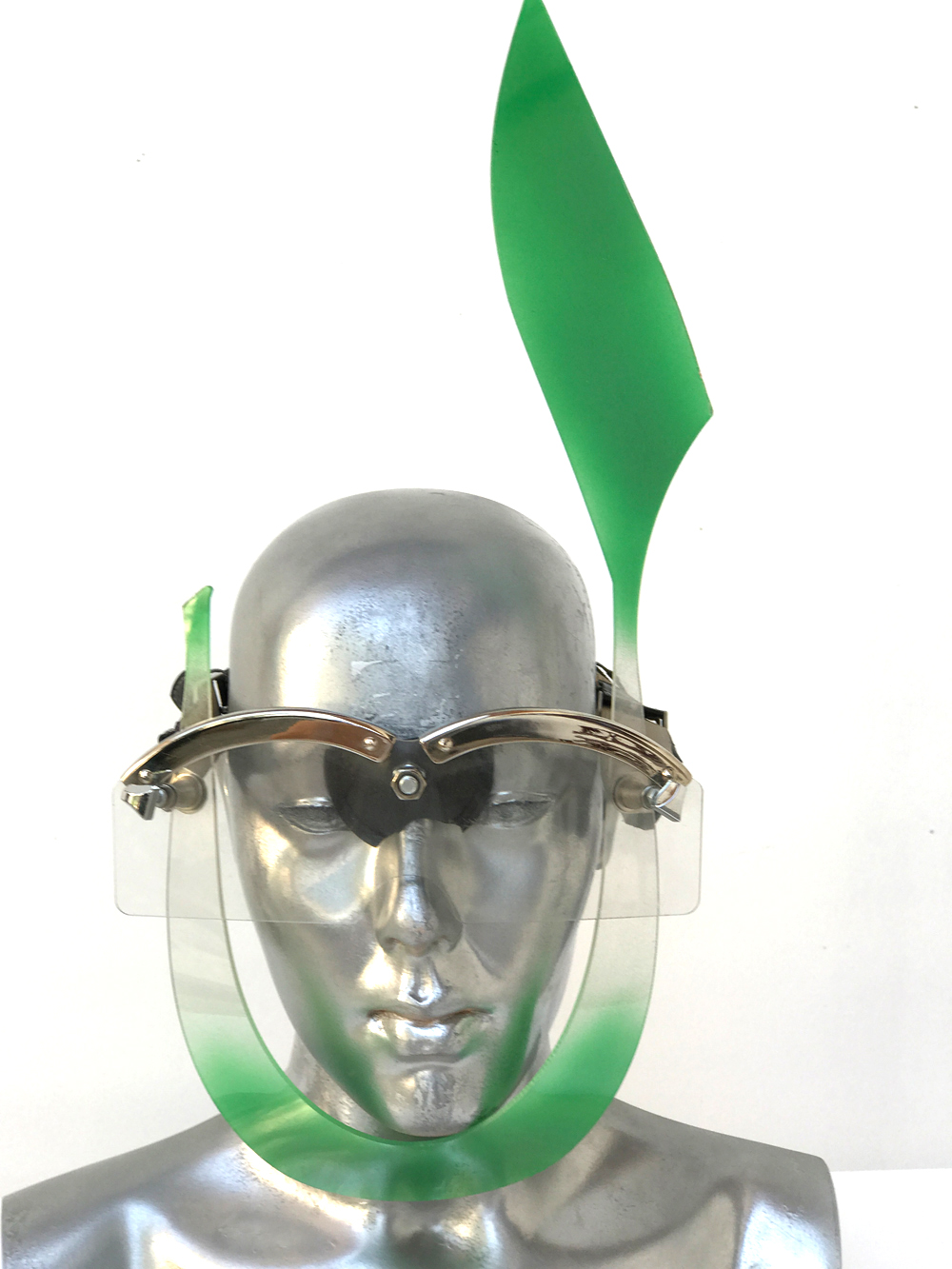green mask with rabbit ear, wearable art, unusual eye wear, styling video,
