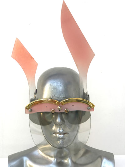 pink mask with ears, wearable art, unusual eye wear, styling video Hi Tek