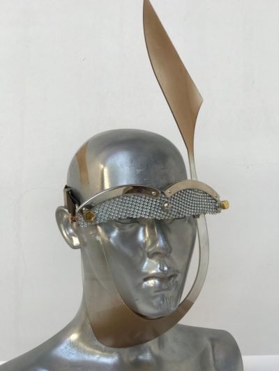 gold mask with rabbit ear, wearable art, unusual eye wear, styling video,