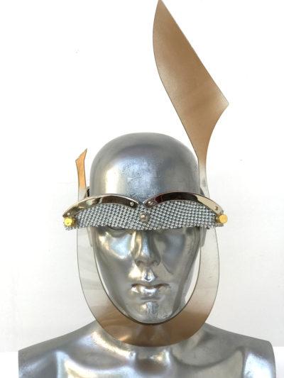 gold mask with rabbit ear, wearable art, unusual eye wear, styling video,