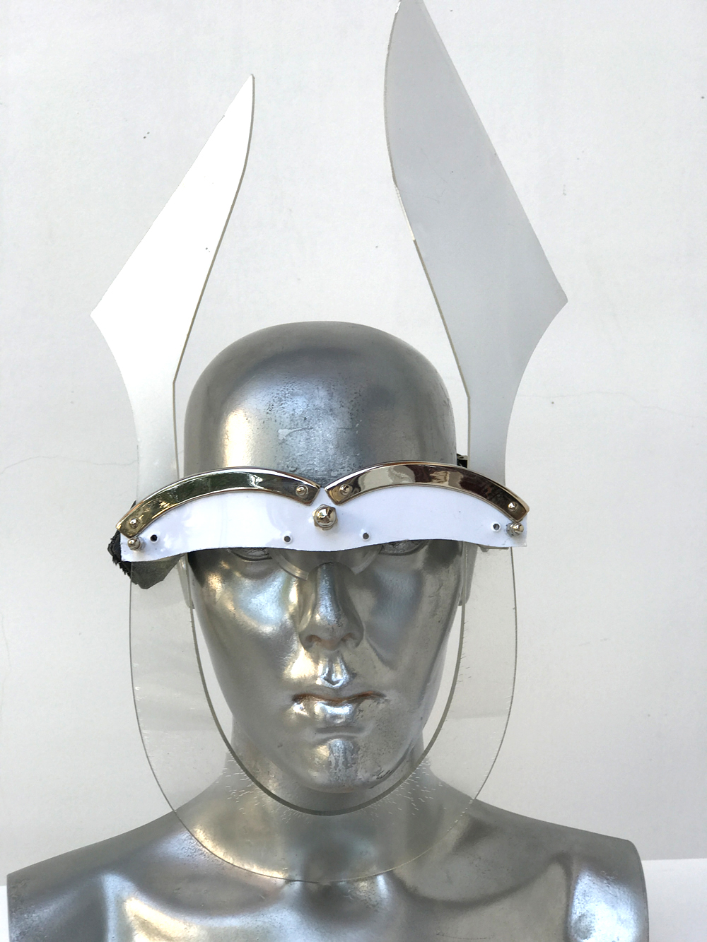 white mask with ears unusual eye wear styling, video, filming, perfroming Hi Tek