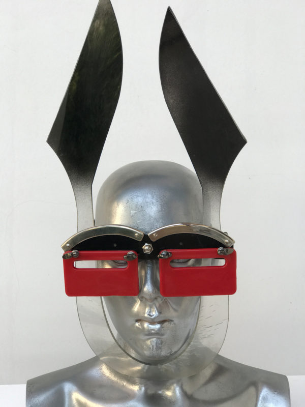black and red mask with ears unusual eye wear styling, video, filming, perfoming Hi Tek