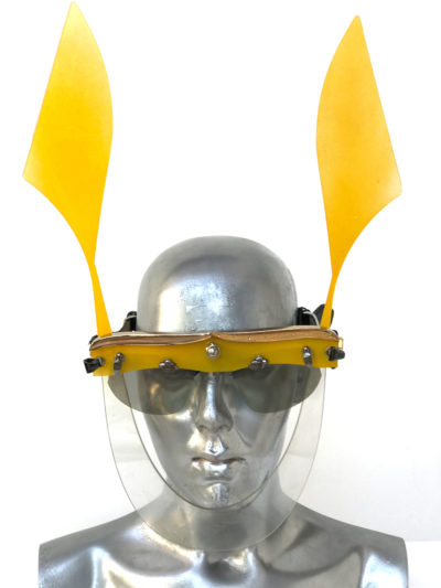 yellow mask with ears, wearable art, unusual eye wear, styling video Hi Tek