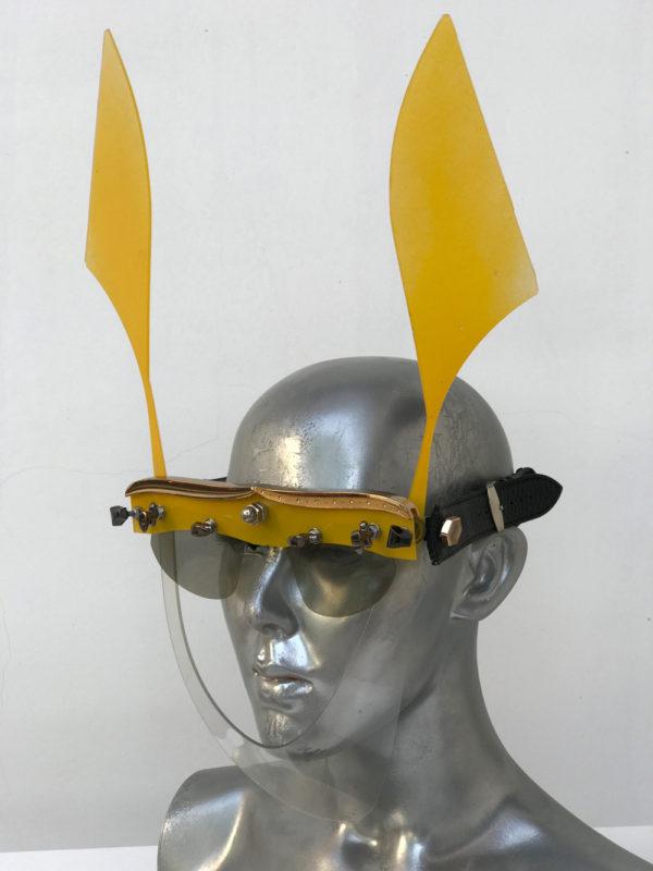 yellow mask with ears, wearable art, unusual eye wear, styling video Hi Tek