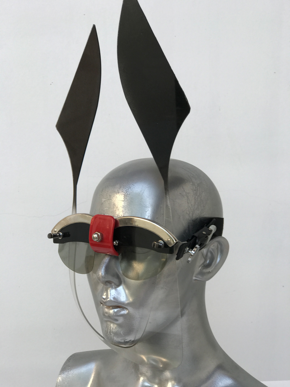 black mask with ears, wearable art, unusual eye wear, styling video Hi Tek
