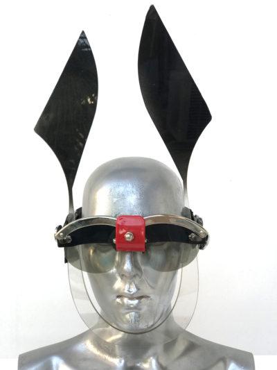 black mask with ears, wearable art, unusual eye wear, styling video Hi Tek