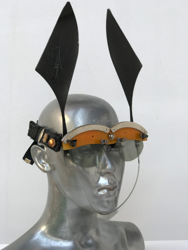 black and yellow mask with ears futuristic modern steampunk unusual eye wear  Hi Tek