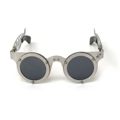 Steampunk round silver metal sunglasses HT-CULT-FT one of a kind unusual temples hand assembled