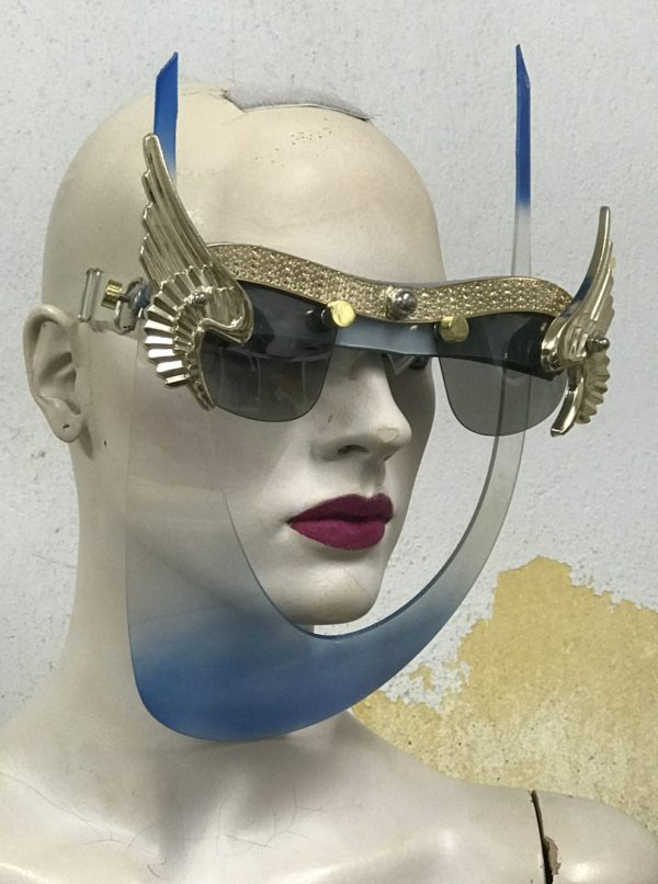 mask with wings, blue mask gold angel wings, unusual, video, styling, filming