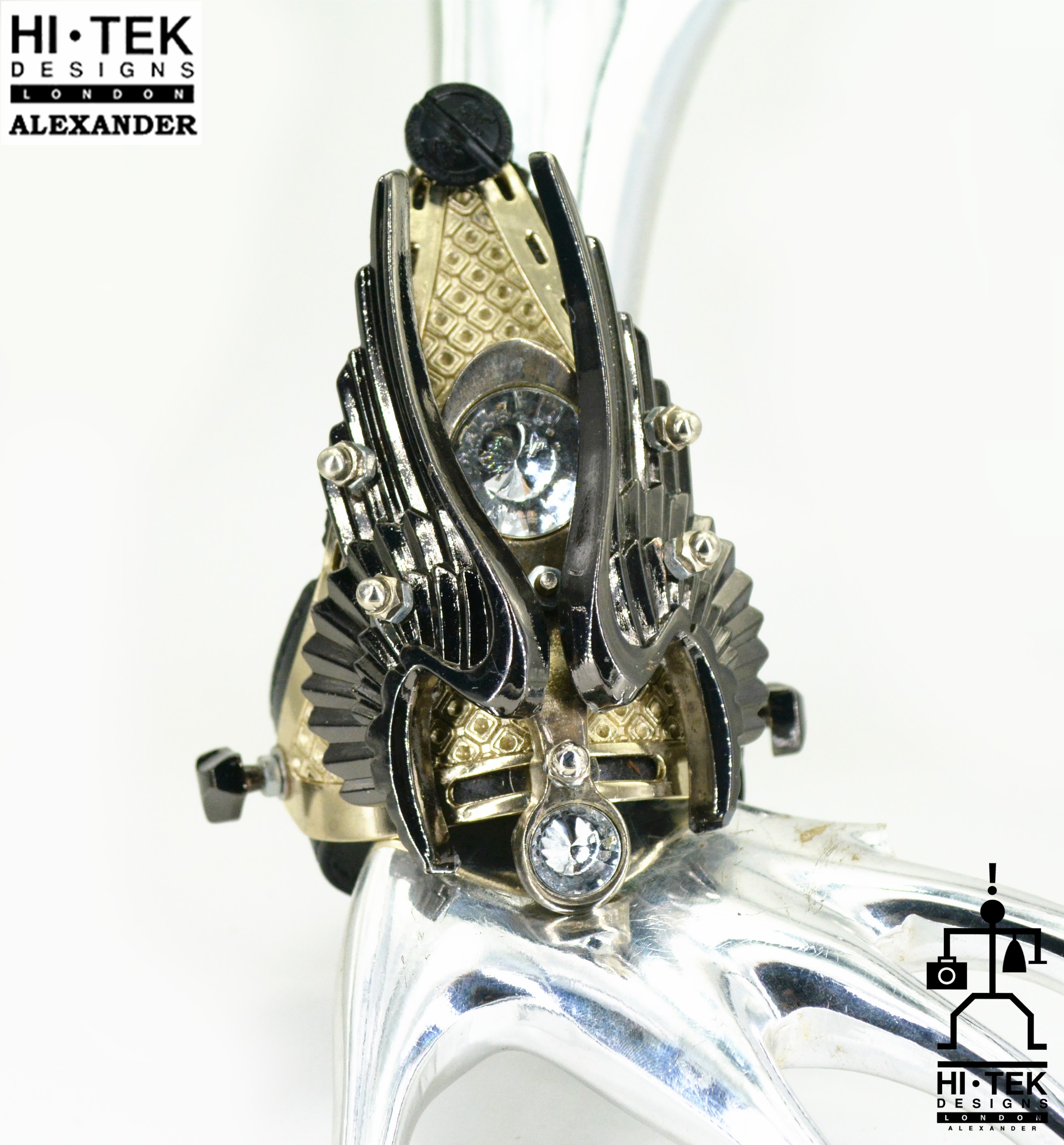 Goth Steampunk cuff bracelet, 3D sculpture bracelet with metal angel wings  Hi Tek