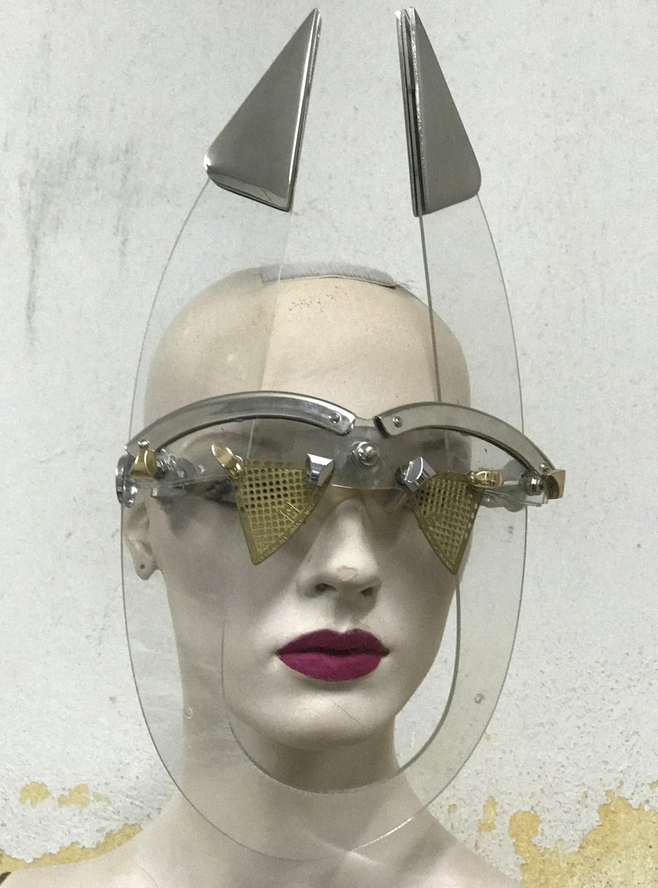 eyewear mask with horns and perforated metal lens unusual unique Hi Tek