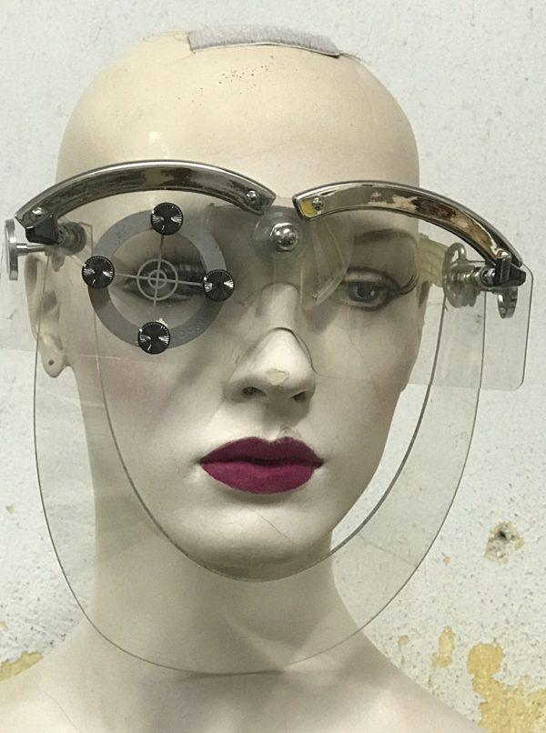 handmade mask with horns futuristic Steampunk styling video shoot halloween art wear