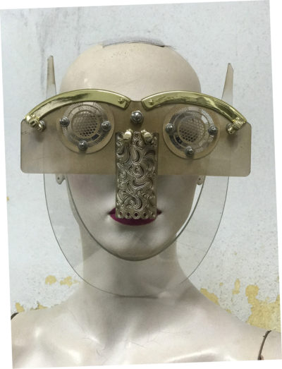 gold eyewear mask with horns and nose shield Hi Tek