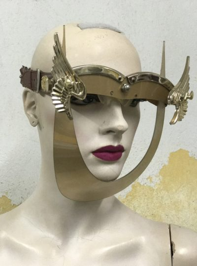 gold eyewear mask with wings gold angel wings Hi Tek