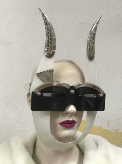 eyewear mask with horns and metal components, styling video, theatre black and white mask