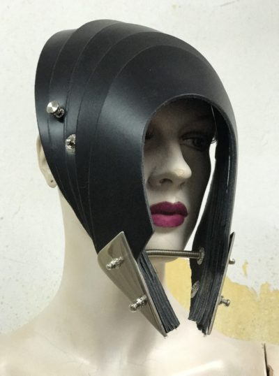 Unusual Head Wear mask hat alien helmet black leather