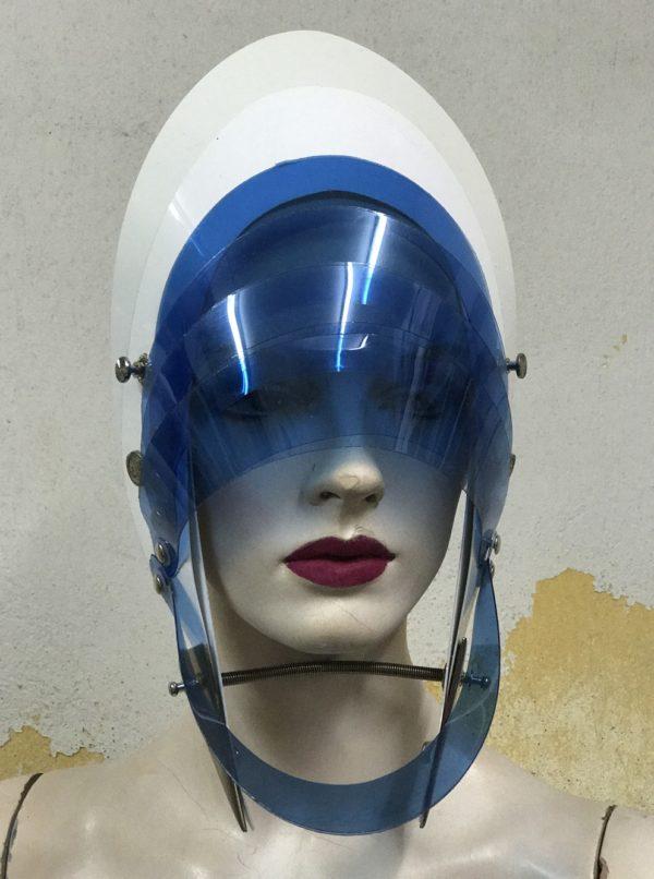 Unusual Head Wear futuristic, mask hat headpiece helmet modern Steampunk wearable art blue