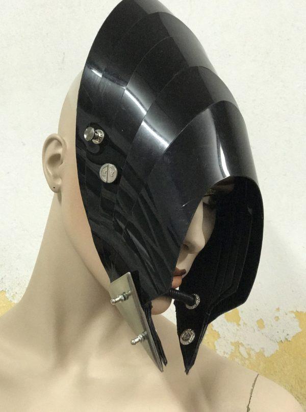 Unusual Head Wear futuristic, mask hat headpiece helmet modern Steampunk wearable art solid black