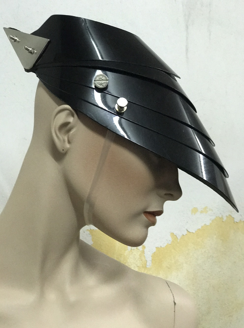Unusual Head Wear futuristic, mask hat headpiece helmet modern Steampunk wearable art solid black