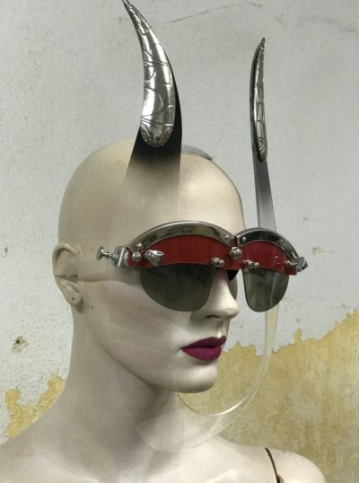 unusual eye wear mask with horns Hi Tek