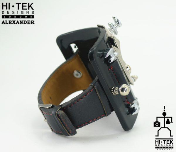 Goth cuff bracelet with cross wrist gear unique chunky metal rock steampunk wearable art