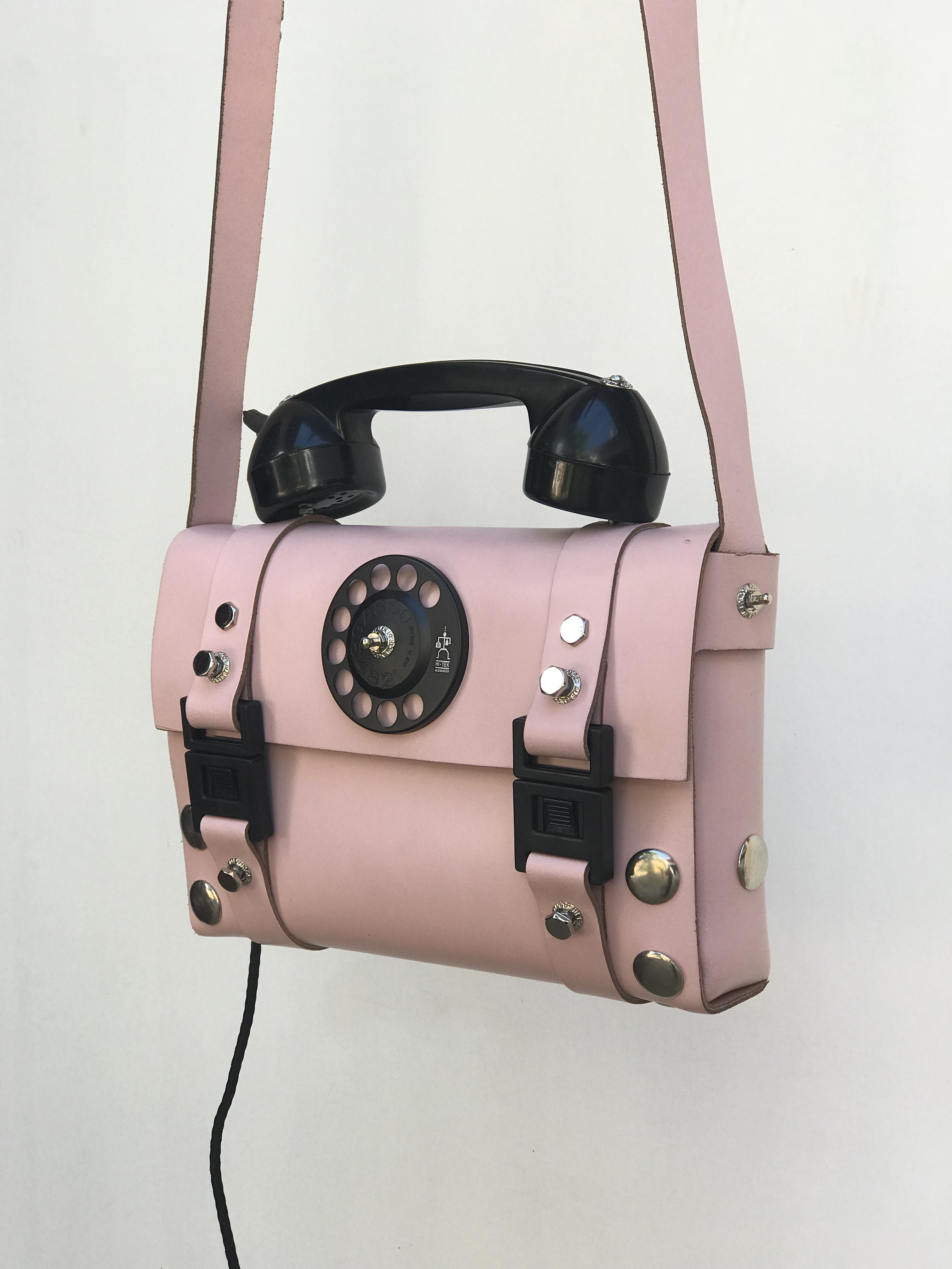pink leather shoulder bag for women unusual handle vintage telephone limited edition