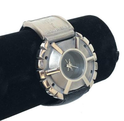 Unisex wrist watch Cyber Goth Cyber Punk Steampunk Hi Tek Alexander State Spokes leather strap
