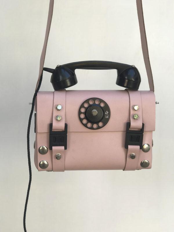 pink leather shoulder bag for women unusual handle vintage telephone limited edition