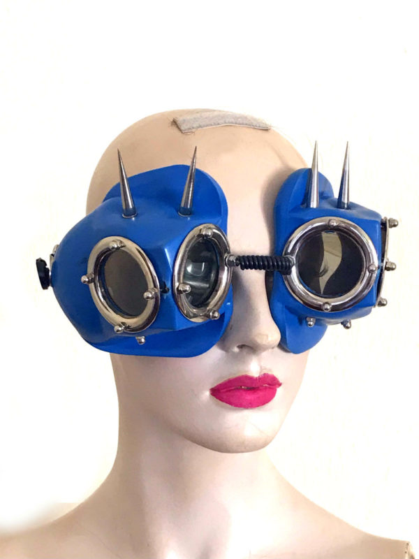 unique eye wear for performing artists, blue goggles eye wear with spikes