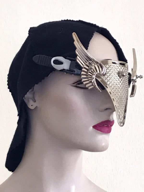 futuristic steampunk metal eye wear mask with angel wings Hi Tek