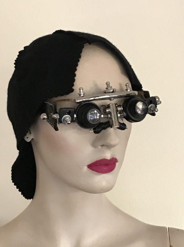 futuristic modern steampunk eye wear mask with magnifier Hi Tek
