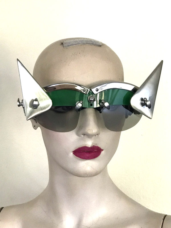 futuristic modern steampunk eyewear for artists triangular horns, green face